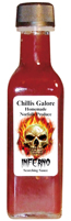 Chillis Galore Inferno Hot Sauce available from G F White Traditional Butchers, Aylsham, North Norfolk Broads, England, UK