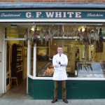 Crawford in front of the shop - G F White Traditional Family Butchers - 16 Red Lion Street, Aylsham, Norfolk, NR11 6ER